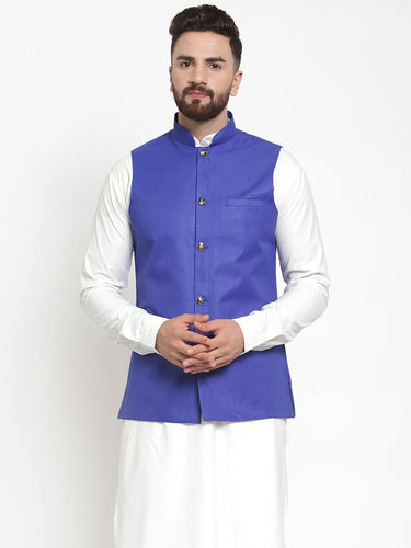 Jompers Men Royal-Blue Solid Nehru Jacket ( JOWC 4002 Royal)
