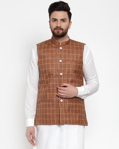 Jompers Men Brown Checked Nehru Jacket ( JOWC 4003 Brown)