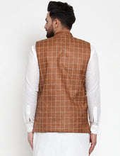 Load image into Gallery viewer, Jompers Men Brown Checked Nehru Jacket