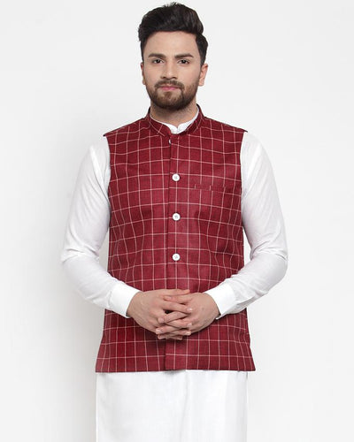 Jompers Men Maroon Checked Nehru Jacket ( JOWC 4003 Maroon)