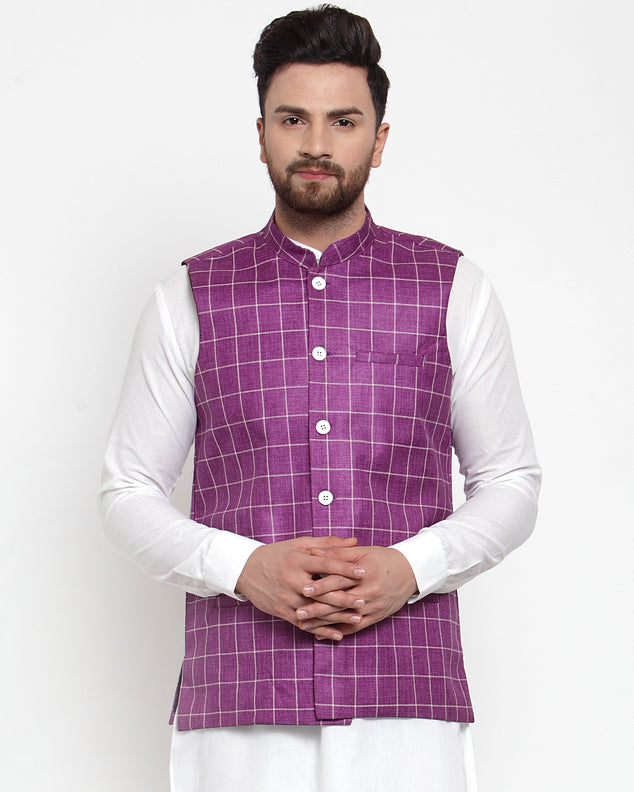 Jompers Men Purple Checked Nehru Jacket