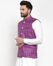 Load image into Gallery viewer, Jompers Men Purple Checked Nehru Jacket
