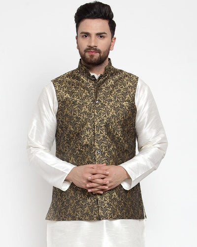 Jompers Men Gold-Coloured & Black Woven Design Nehru Jacket ( JOWC 4004 Golden)