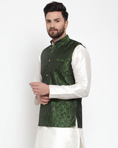 Jompers Men Green-Coloured & Black Woven Design Nehru Jacket