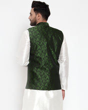 Load image into Gallery viewer, Jompers Men Green-Coloured & Black Woven Design Nehru Jacket