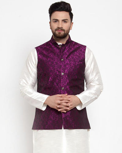 Jompers Men Purple-Coloured & Black Woven Design Nehru Jacket ( JOWC 4004 Purple)