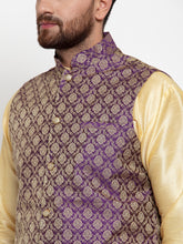 Load image into Gallery viewer, Jompers Men Purple-Coloured & Golden Woven Design Nehru Jacket