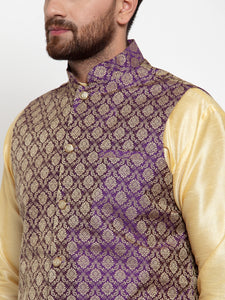 Jompers Men Purple-Coloured & Golden Woven Design Nehru Jacket