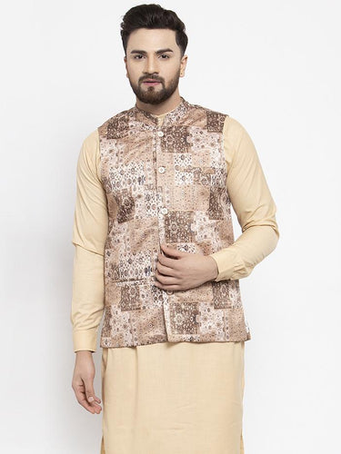 Jompers Men Beige Printed Satin Nehru Jacket ( JOWC 4007 Beige)