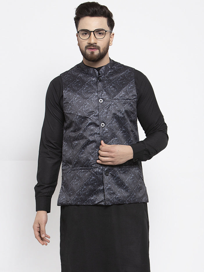 Jompers Men Charcoal Grey Printed Satin Nehru Jacket