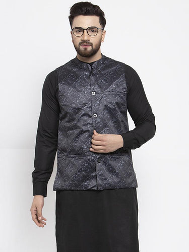 Jompers Men Charcoal Grey Printed Satin Nehru Jacket ( JOWC 4007 Charcoal)