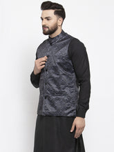 Load image into Gallery viewer, Jompers Men Charcoal Grey Printed Satin Nehru Jacket