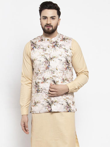 Jompers Men Cream Printed Satin Nehru Jacket ( JOWC 4007  Cream )