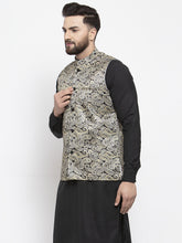 Load image into Gallery viewer, Jompers Men Golden Printed Satin Nehru Jacket