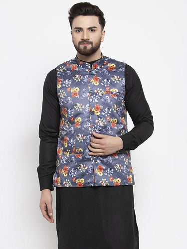 Jompers Men Grey Printed Satin Nehru Jacket ( JOWC 4007 Grey)