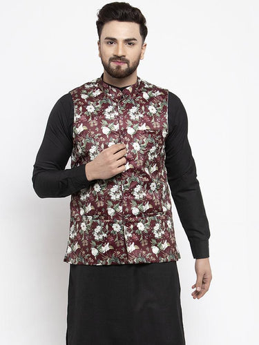 Jompers Men Maroon Printed Satin Nehru Jacket ( JOWC 4007 Maroon)