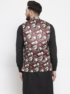 Jompers Men Maroon Printed Satin Nehru Jacket