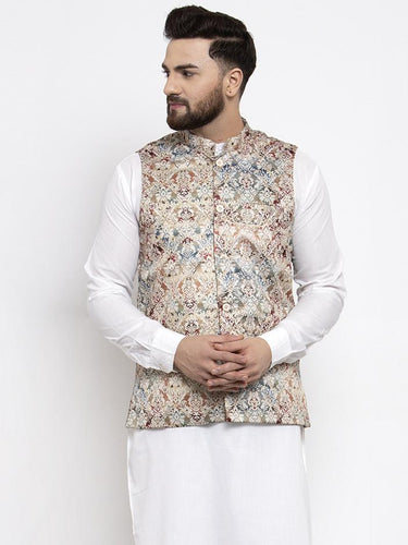 Jompers Men Multicolored Printed Satin Nehru Jacket ( JOWC 4007 Multi)