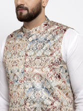 Load image into Gallery viewer, Jompers Men Multicolored Printed Satin Nehru Jacket