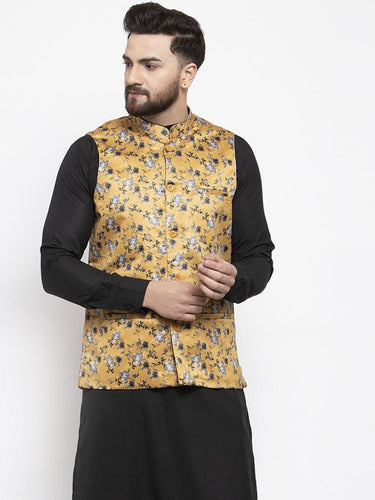 Jompers Men Mustard Printed Satin Nehru Jacket ( JOWC 4007 Mustard)