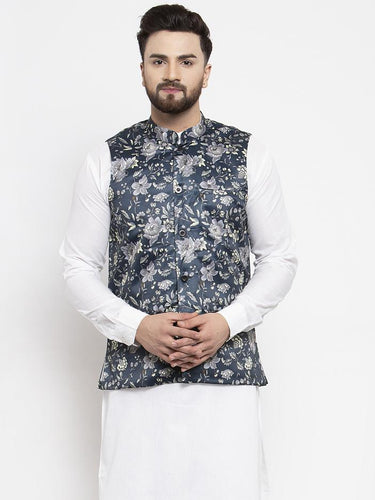 Jompers Men Navy-Blue Printed Satin Nehru Jacket ( JOWC 4007 Navy)