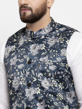 Load image into Gallery viewer, Jompers Men Navy-Blue Printed Satin Nehru Jacket