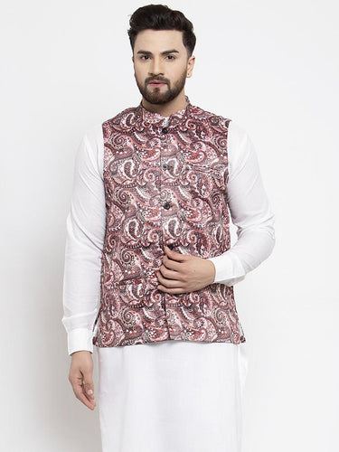 Jompers Men Pink Printed Satin Nehru Jacket ( JOWC 4007 Pink)