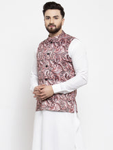 Load image into Gallery viewer, Jompers Men Pink Printed Satin Nehru Jacket