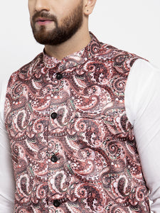 Jompers Men Pink Printed Satin Nehru Jacket