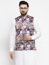 Load image into Gallery viewer, Jompers Men Purple Printed Satin Nehru Jacket
