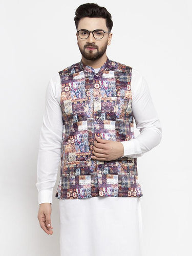 Jompers Men Purple Printed Satin Nehru Jacket ( JOWC 4007 Purple)