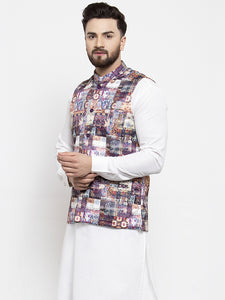 Jompers Men Purple Printed Satin Nehru Jacket