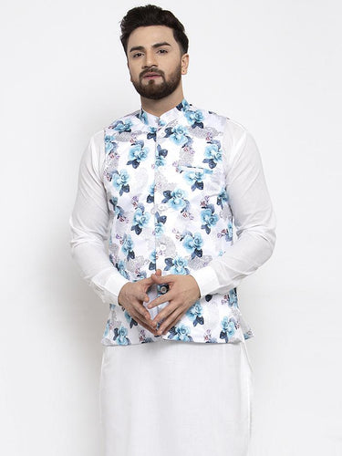 Jompers Men Silver Printed Satin Nehru Jacket ( JOWC 4007 Silver)