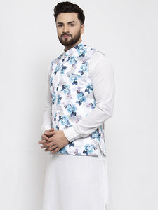 Jompers Men Silver Printed Satin Nehru Jacket