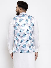 Load image into Gallery viewer, Jompers Men Silver Printed Satin Nehru Jacket