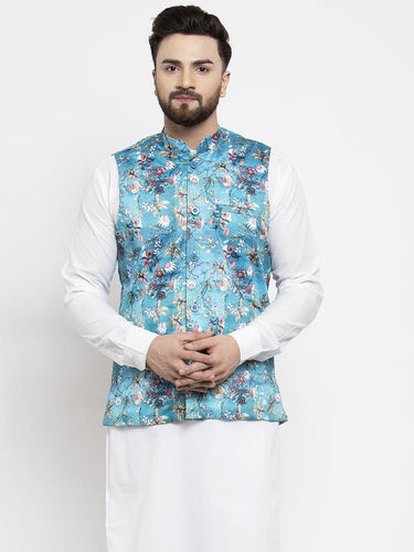 Jompers Men Sky-Blue Printed Satin Nehru Jacket ( JOWC 4007 Sky)