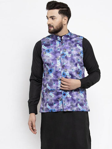 Jompers Men Violet Printed Satin Nehru Jacket ( JOWC 4007 Voilet)