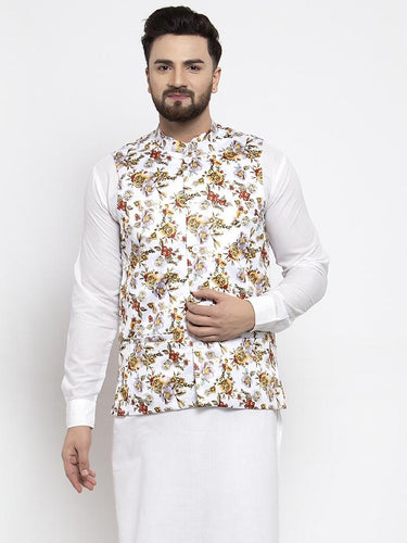 Jompers Men White Printed Satin Nehru Jacket ( JOWC 4007 White)