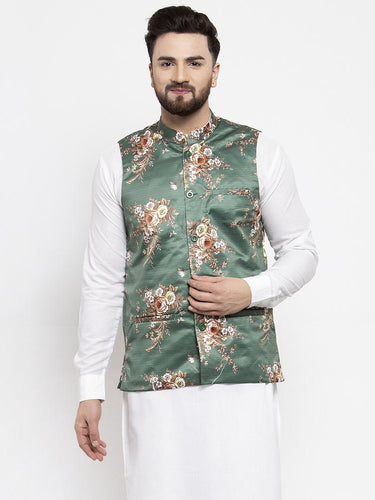 Jompers Men Green & Brown Printed Satin Nehru Jacket ( JOWC 4007 Green)