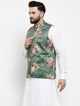 Load image into Gallery viewer, Jompers Men Green & Brown Printed Satin Nehru Jacket