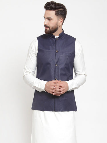 Jompers Men Navy-Blue Solid Nehru Jacket ( JOWC 4002 Navy)