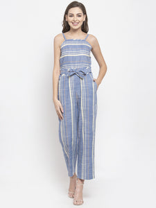 Women Blue & Off-White Striped Basic Jumpsuit