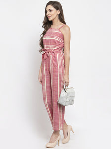 Women Red & Off-White Striped Basic Jumpsuit