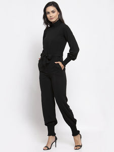 Jompers Women Black Solid Basic Jumpsuit