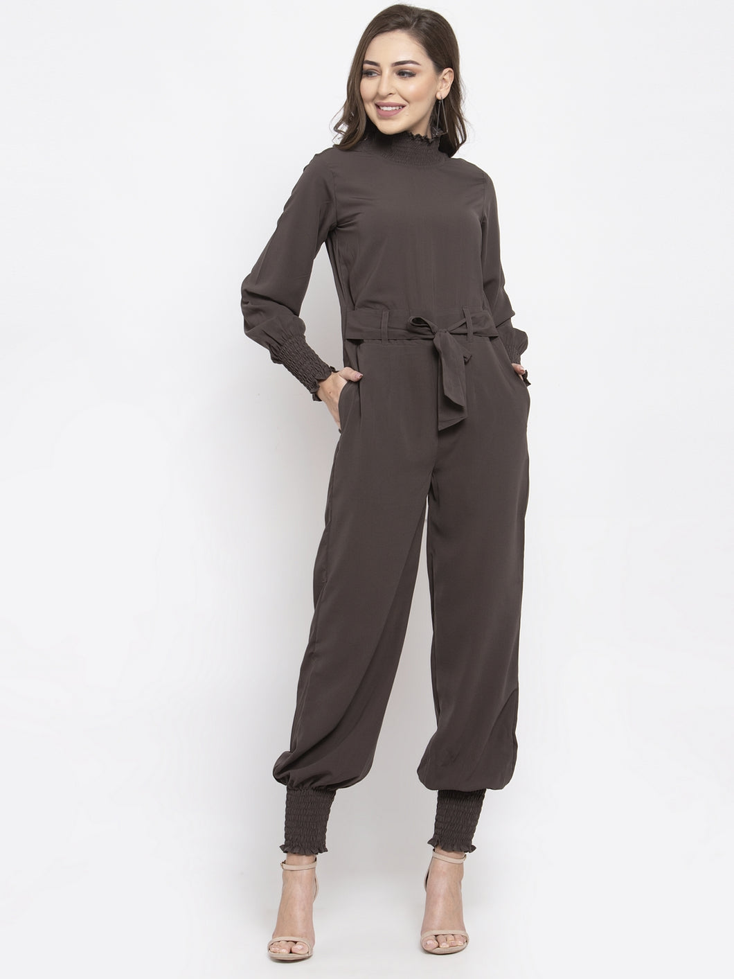 Jompers Women Grey Solid Basic Jumpsuit
