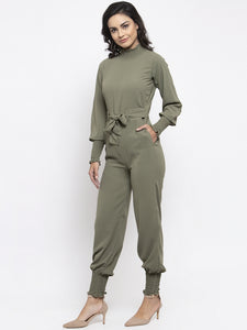 Jompers Women Pista Green Solid Basic Jumpsuit