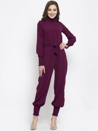 Jompers Women Purple Solid Basic Jumpsuit