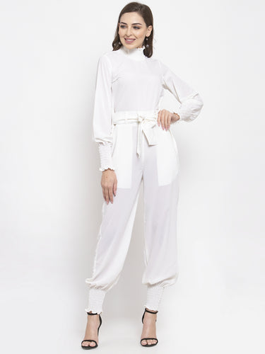 Jompers Women White Solid Basic Jumpsuit