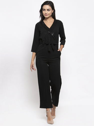 Jompers Women Black Solid Jumpsuit with sequence on neck