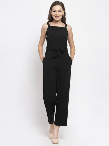 Jompers Women Black Solid Embellished Jumpsuit